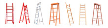 Realistic Ladders. Wooden Or Metal Staircase. 3D Stepladder. Step Construction. Work Equipment. Types Set Of Instruments For Climbing. Vector Development And Personal Growth Concept