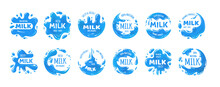 Milk Splash Logo. Dairy Products Brand Badges. Natural Drink Stickers With Drops. Healthy Food Branding. Label Set Of Fresh Tasty Beverages. Vector Blue Streams And White Lettering