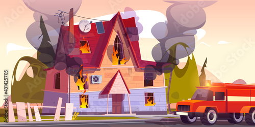 Fototapeta Fire truck at burning house, suburban cottage in flame with long tongues. Dangerous accident at home, firefighters vehicle near blazing countryside building or dwelling, Cartoon vector illustration obraz