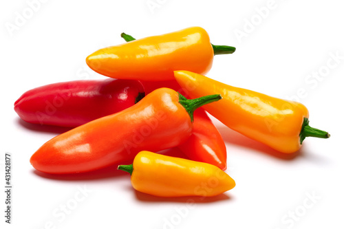 Tela Group of Chili or sweet peppers isolated on white background