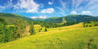 canvas print picture countryside summer landscape. meadows, pastures and forest on the hills. mountainous scenery on a bright summer day. gorgeous cloudscape above the ridge