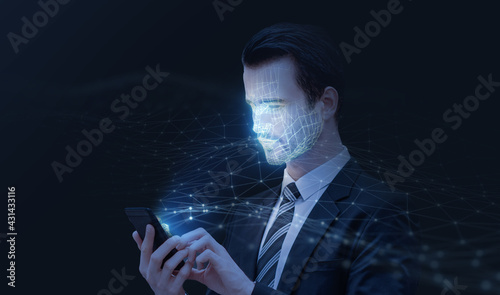 Face detection AI technology, facial recognition security user identification access, businessman working using smartphone, smart scanning sensor environment surrounding concept, 3d model wireframe. - fototapety na wymiar