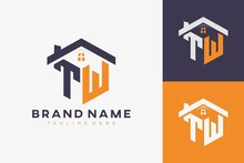Hexagon TW House Monogram Logo For Real Estate, Property, Construction Business Identity. Box Shaped Home Initiral With Fav Icons Vector Graphic Template