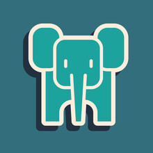 Green Elephant Icon Isolated On Green Background. Long Shadow Style. Vector