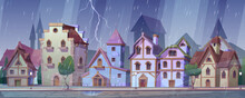Medieval German Night Street At Rainy Weather. Traditional Half-timbered Houses Under Rain And Lightning. European Buildings In Old Town. Fachwerk Cottages Cityscape, Cartoon Vector Illustration