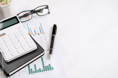 Desk office business financial accounting calculate with copy space