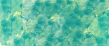 Abstract Green Wet Watercolor Splash Paint Texture Or Grunge Background