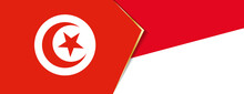 Tunisia And Indonesia Flags, Two Vector Flags.