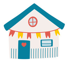 Cute Beach Hut. Fisherman House. Shack Facade. Concept Of Summer Vacation In Surfhouse. Beach Cabin With Flag. Vector Illustration In A Flat Style.