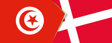 Tunisia And Denmark Flags, Two Vector Flags.