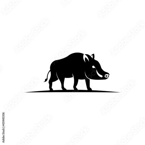 Fototapeta Wild boar side view vector icon,Forest animal symbol