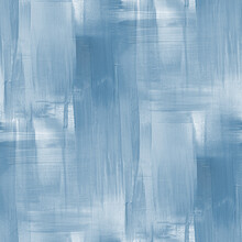 Hand Drawn Artistic Background With Rough Brush Strokes. Seamless Blue Color Acrylic Paint, Canvas Texture, Good Mood Painting