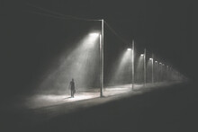 Illustration Of Mysterious Lonely Man Walking Alone In The Dark, Surreal Abstract Concept