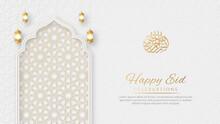 Happy Eid Arabic Elegant Luxury Ornamental Islamic Background With Islamic Pattern Border And Decorative Hanging Ornament