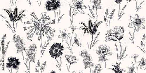 Billede på lærred Vintage spring background. Floral seamless pattern. Vector.
