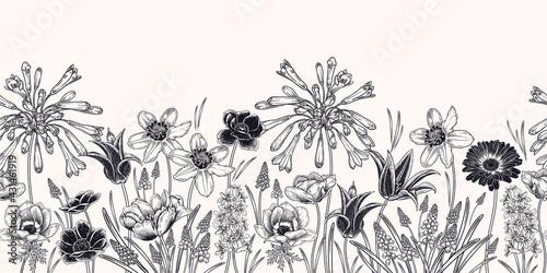 Fotografering Spring border. Floral seamless pattern. Vector. Vintage.