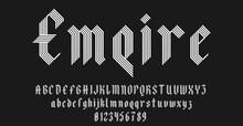Set Of Alphabets Font Letters And Numbers Elegant Antique Vintage Blackletter Concept Line Style Vector Illustration