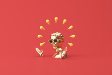 Minimal Scene Of Sunglasses And Headphone On Gold Human Head Sculpture With Light Bulbs, 3d Rendering.