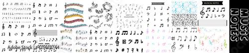 Fotografia Set of musical notes and symbols, vector illustration