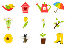 A Set Of Icons On The Theme Of Spring, Summer. Insects, Birds, Tulips, Weather, Birdhouse. Color Vector Illustrations In Cartoon Style. Isolated On A White Background