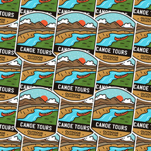 Camping Adventure Badges Pattern. Outdoor Hiking Seamless Background With Tent, Mountains, Cabin Life Scene. Stock Canoe Tours.