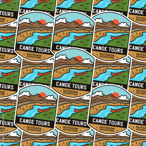 Photo Camping adventure badges pattern