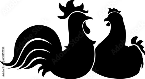 Fotografering Hen and Rooster Cock Illustration of Farm Bird Animal - Black and White Poultry