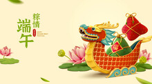 3d Dragon Boat And Lotus Banner
