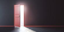 Business Opportunities Concept With Sunlight Coming Through Open Red Door In Dark Room