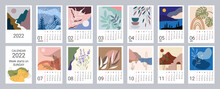 Calendar Template For 2022. Vertical Design With Abstract Natural Patterns. Editable Illustration, Set Of 12 Months With Cover. Vector Mesh. Week Starts On Sunday