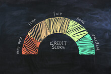 Credit Score Concept With Wealth Scale From Very Poor To Excellent On Abstract Dark Background.