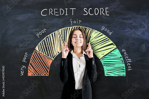 Bank loan concept with businesswoman crossing her fingers on blackboard background with credit score scale Fototapeta