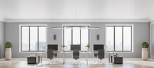 Front View On Modern Open Space Office With Stylish Decor Elements, Black Furniture, Flowerpots On Parquet Floor And Big Windows