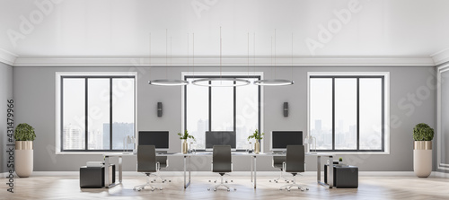 Fotografía Front view on modern open space office with stylish decor elements, black furnit