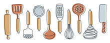Kitchen Knolling. Kitchenware Sketch Set. Doodle Line Vector Utensils, Tools And Cutlery. Rolling Pin, Spatula, Crush And Sieve. Ladle, Grater, Whisk, Slotted Spoon And Knife
