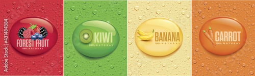 many fresh drops on different color backgrounds with lemon, orange, mojito, water	 - fototapety na wymiar