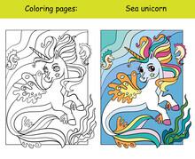 Cute Sea Unicorn Coloring Vector And Template