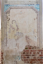 Remains Of Drawings On The Walls Of A Destroyed Orthodox Church