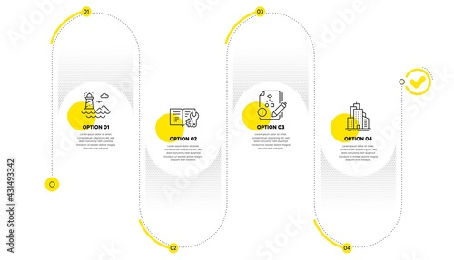 Algorithm, Engineering documentation and Lighthouse line icons set. Timeline process infograph. Skyscraper buildings sign. Project, Manual, Navigation beacon. Town architecture. Industrial set. Vector