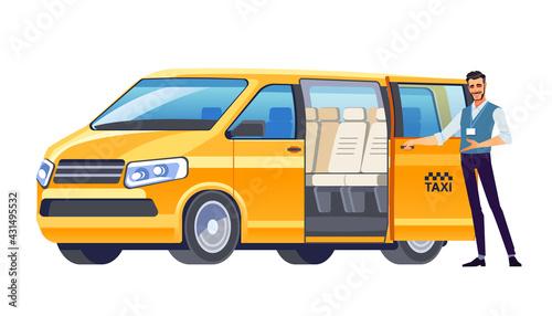Fényképezés Taxi driver inviting passenger get into Minibus taxi