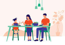 Little Girl Addicted To Her Tablet During Mealtime And Refuses To Eat. Screen Time Addiction Concept. Vector Flat Cartoon Illustration. Mother Encouraging Her Daughter To Eat Her Food.