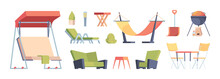 Outdoor Decoration. Garden Exterior Furniture Sitting Sofa Chairs Table Swing For Bbq Time Relax Lifestyle Garish Vector Illustartions In Flat Style