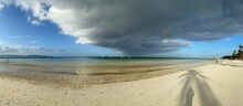 Panoramic View Of A Storm Cloud Over A White Sand Beach At Boracay, Philippines.