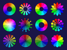 Rgb Circles. Round Abstract Shapes Selective Colored Spectrum Waves Frequency Wheels Rgb Palletes Recent Vector Stylized Symbols