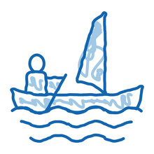 Sailing Canoeing Doodle Icon Hand Drawn Illustration