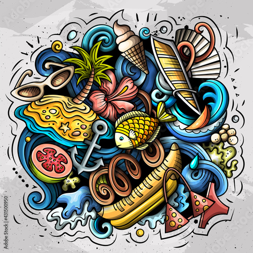 Fototapeta Summer beach vector doodles illustration. obraz