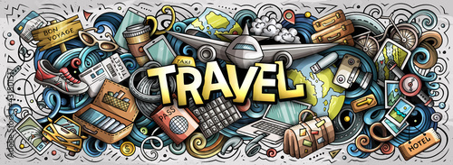 Travel hand drawn cartoon doodle illustration. Funny holiday design. - fototapety na wymiar
