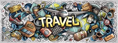 Fototapeta Travel hand drawn cartoon doodle illustration. Funny holiday design. obraz