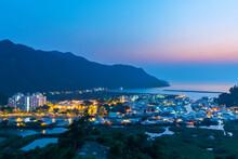 Idyllic Landscape Of Landmark Tai O Fishing Village In Hong Kong At Dusk