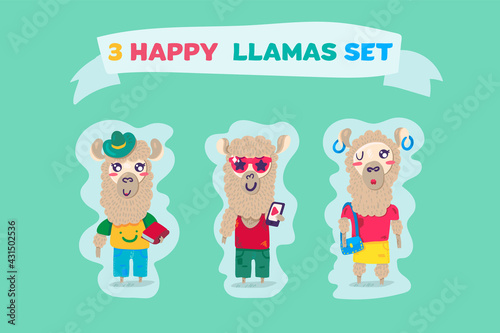 Fototapeta premium Happy llamas attractive and funny animals vector